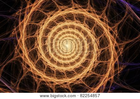 Geometric Orange Spiral That Falls Down. Abstract Colorful Fractal Texture.