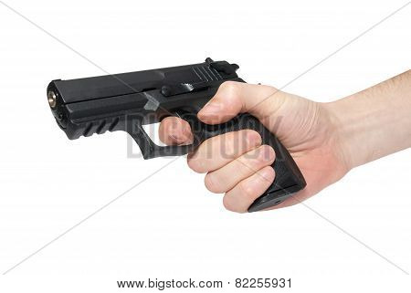 Black Gun In A Hand
