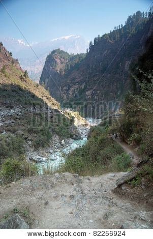 Marsyangdi River And Annapurna Mountain