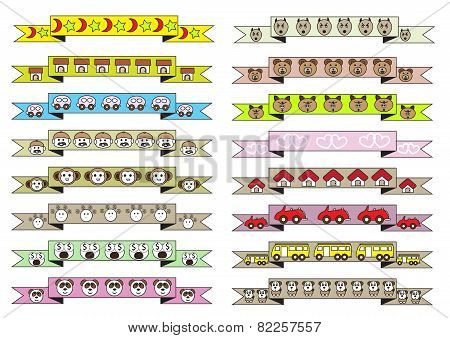 Cute Cartoon Style Ribbons