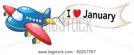 Illustration of i love january banner