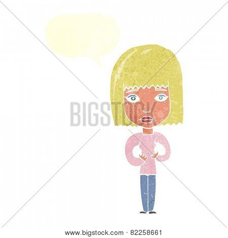cartoon woman indicating self with speech bubble