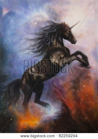 Black Unicorn Dancing In Space