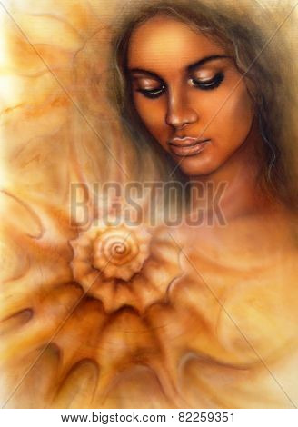 Woman With Closed Eyes Meditating Upon A Spiraling Seashell