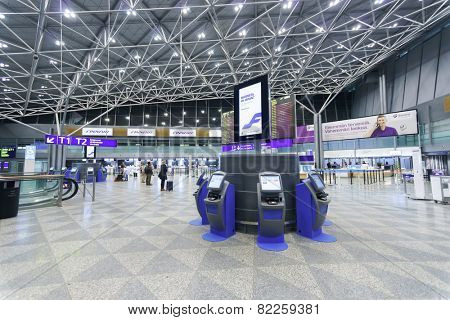 HELSINKI - SEP 20: Helsinki Airport interior on September 20, 2014 in Helsinki, Finland. Helsinki Airport is the main international airport of the Helsinki metropolitan region and the whole of Finland