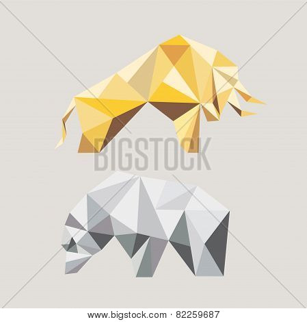 Bull And Bear In The Geometric Style