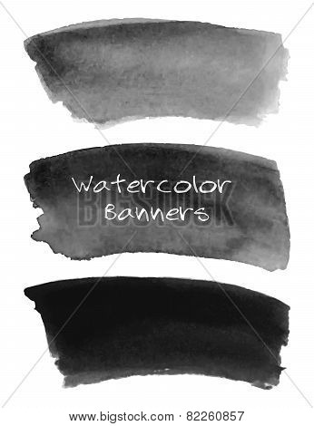Watercolor black and grey banners set.