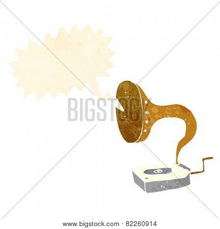 cartoon gramophone with speech bubble