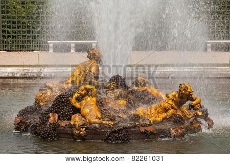 Bacchus Fountain (autumn Fountain) In Gardens Of Versailles Palace