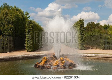 Bacchus Fountain In Gardens Of Versailles Palace