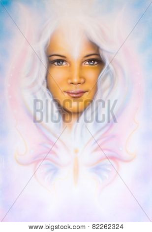 illustration Children Angelic Face With Radiant White Hair And A Butterfly,make up art, eye contact