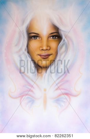 Beautiful Airbrush Painting Of A Young Girl's Angelic Face With Radiant White Hair And A Butterfly