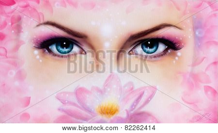 Pair Of Beautiful Blue Women Eyes Beaming  Up Enchanting From Behind A Bloming Rosa Lotus Flower