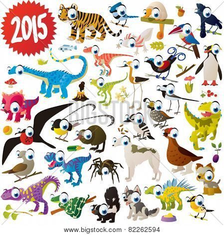 vector cute cartoon animals set: tiger, jay, umbrella bird, dinosaur, woodpecker, frigate, kiwi, bird of paradise, dogs, skunk, snake, penguin, spider, dove, fish, flower, butterfly, grouse, quail