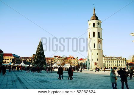 Vilnius City Capital Of Lithuania Cathedral Place