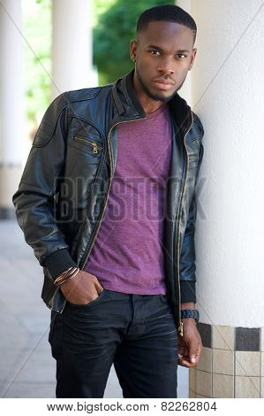 Cool African American Man In Black Leather Jacket