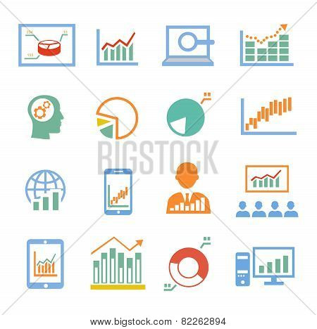 Market analysis, diagrams icons