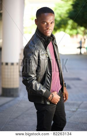 Black Male Fashion Model Posing In Leather Jacket