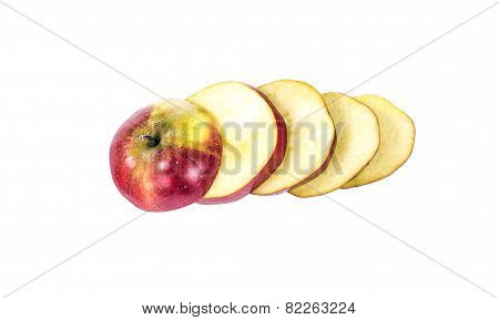 pieces of sliced apple laid offset