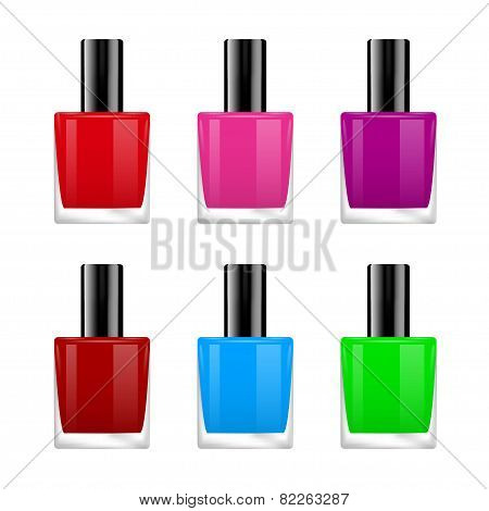 The vector image of nail polish of various colors