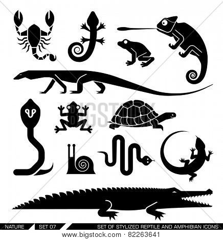 Set of various animal icons: scorpions, snakes, frogs, lizards, snails, crocodiles, turtles, cobra, chameleon, gecko  . Vector illustration.