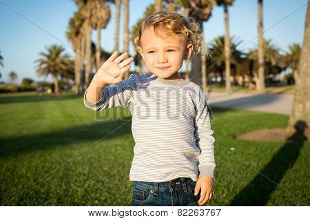 Cute little boy playing at a grassy park