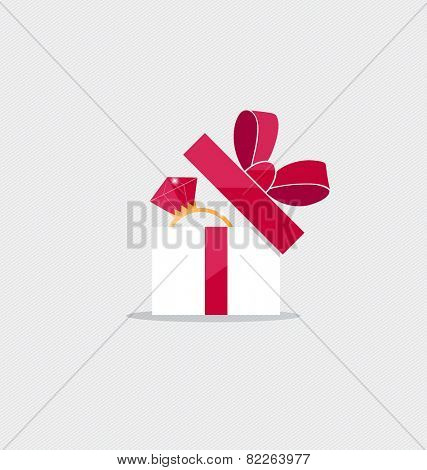 Happy valentines day. Gift box with Wedding ring inside. Vector Illustration.