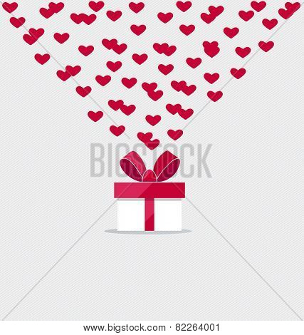Happy valentines day. Valentines day gift bag with gift box. Vector Illustration.