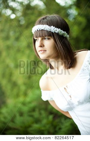 pretty young woman in a forest