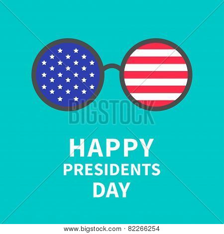 Round Glasses With Stars And Strips. Presidents Day Background Flat Design