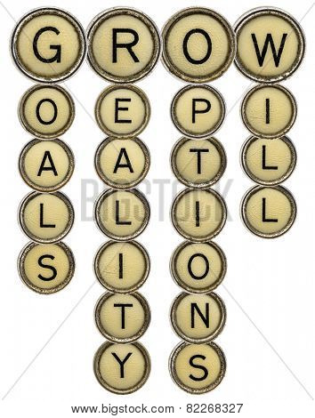 grow crossword - goals, reality, options and will - in old round typewriter keys isolated on white