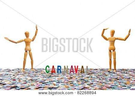 Dummy couple at Carnaval Party on white background