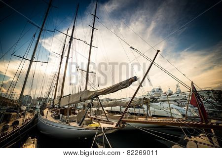 Beautiful marina view, sailboats and motorboats in port