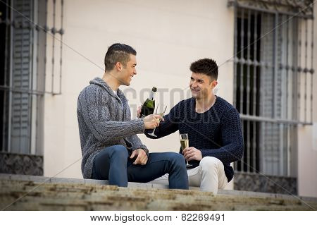 Young Attractive Gay Men Couple Celebrating Together Valentines Day Or Anniversary Champagne Toast