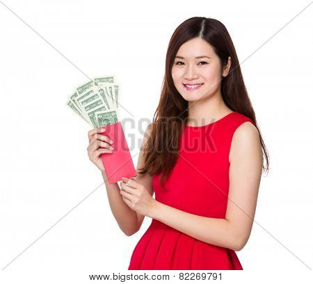 Woman hold lucky money with USD