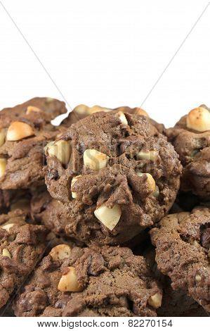 Pile Of Macadamia Cookies Isolated On White