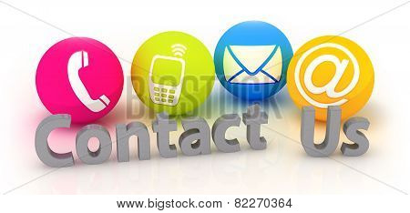 Contact Us - Four Colorful Contacting  Symbols