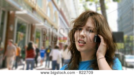 City girl talking on the phone