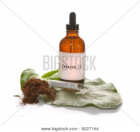 Tabacum Homeopathic Medicine With Small Tobacco Leaf And Tobacco