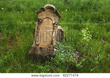 Fallen tombstone at an abandoned cemetery in Olomouc, Moravia, Czech Republic.