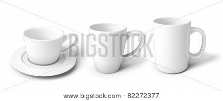 Set Of White Cups For Different Beverages