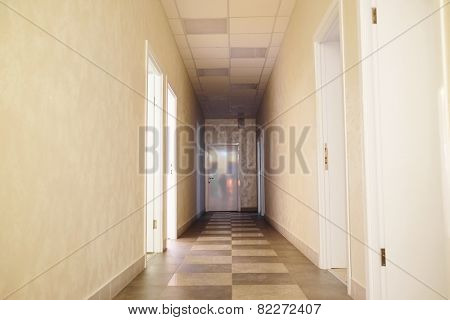 Empty corridor in fitness center