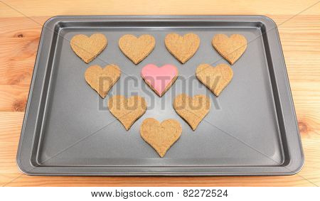 Heart-shaped Biscuits On A Cookie Sheet