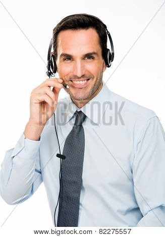 smiling man with headset