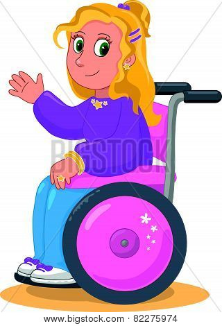 Happy girl on wheelchair