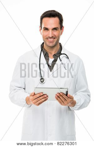 doctor with digital tablet