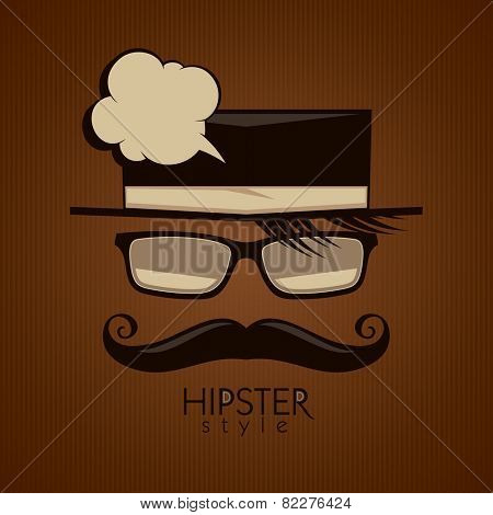 Background with mustached man and speech bubble, hipster style.