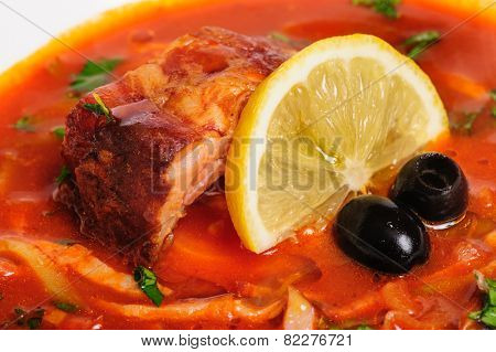 Russian and Ukrainian soup solyanka
