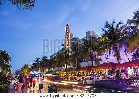 People Enjoy Night View At Ocean Drive