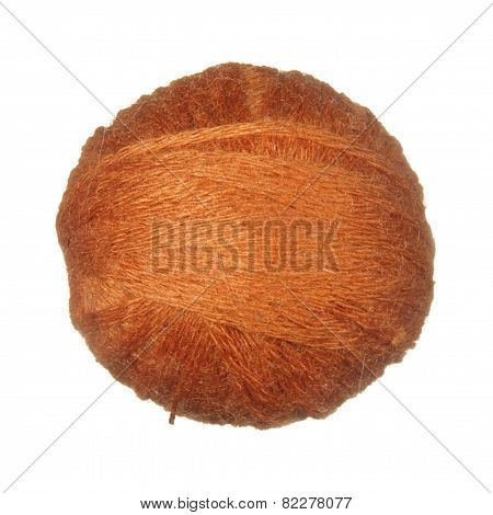 Skein Of Wool Yarn Orange Isolated On White Background.
